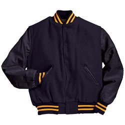 Military Navy Varsity Letterman Jacket with Two Light Gold Stripes