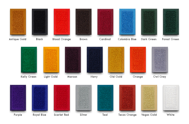 Mount Olympus Awards Chenille and Felt Color Chart