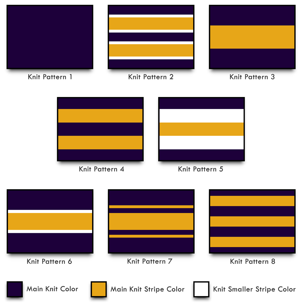 Custom Varsity Letterman Jacket Knit Trim Patterns for Collar, Cuffs, Waist, and Sailor Collar Braid