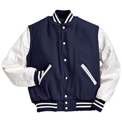 Navy and White Varsity Letterman Jacket