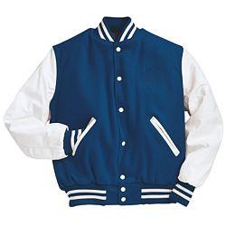 Royal Blue and White Varsity Letterman Jacket