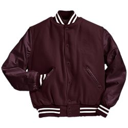 Solid Maroon Letter Jacket with White Stripes