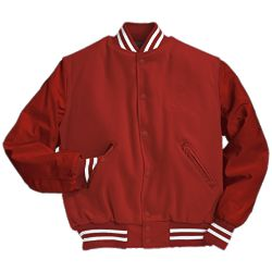 Solid Scarlet Red Varsity Letter Jacket with White Stripes