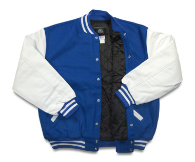 Bright Royal Blue and White Varsity Letterman Jacket