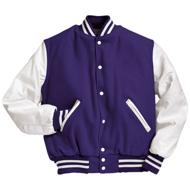 Purple and White Varsity Letterman Jacket