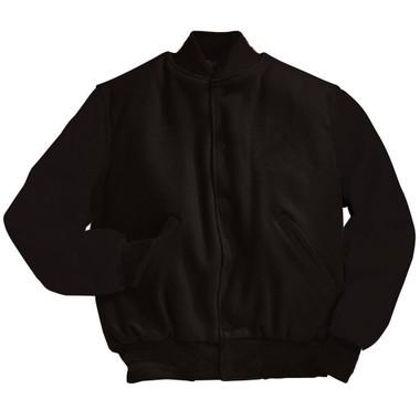 Solid Black Varsity Letterman Jacket