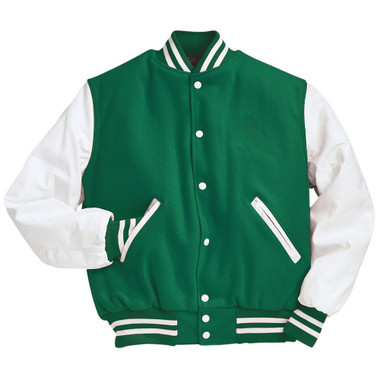 Kelly Green and White Varsity Letterman Jacket