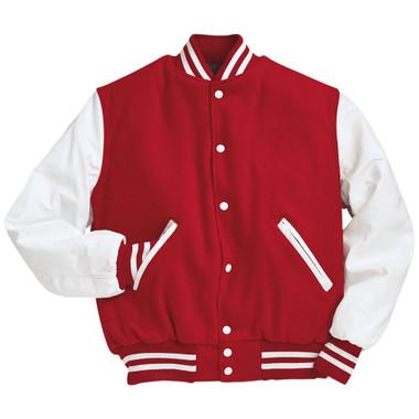 Scarlet Red and White Varsity Letterman Jacket