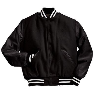 Solid Black Varsity Letterman Jacket with White Stripes