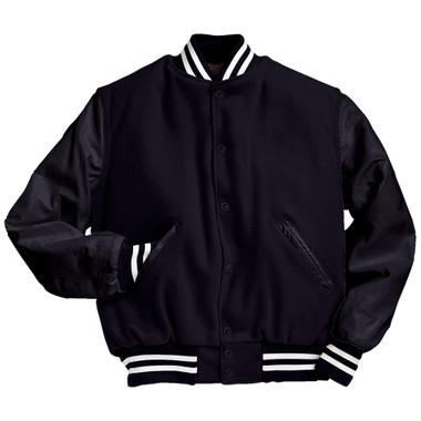 Solid Dark Navy Varsity Letterman Jacket with White Stripes