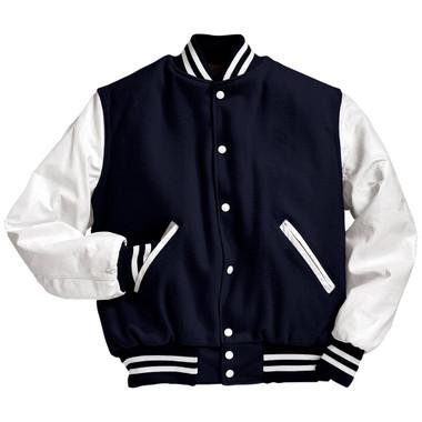 Dark Navy and White Varsity Letterman Jacket