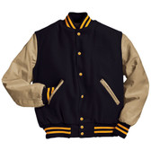 Dark Navy and Cream Varsity Letterman Jacket with Light Gold Stripes