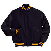 Solid Dark Navy Varsity Letterman Jacket with Light Gold Stripes