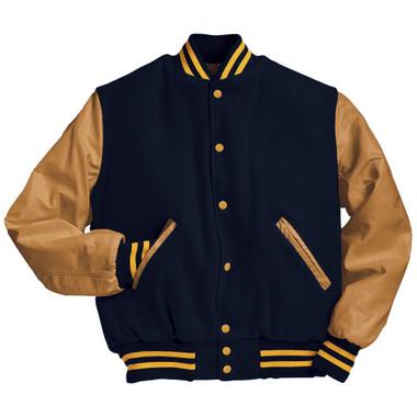 Dark Navy and Light Gold Varsity Letterman Jacket