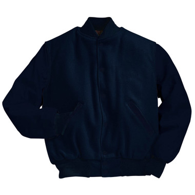 Solid Dark Navy Varsity Letterman Jacket