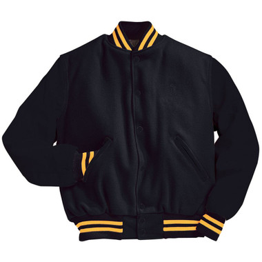 Solid Black Varsity Letterman Jacket with Light Gold Stripes