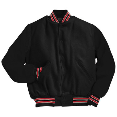 Solid Black Varsity Letterman Jacket with Red and White Stripes