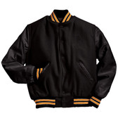 Solid Black Varsity Letterman Jacket with Light Gold and White Stripes