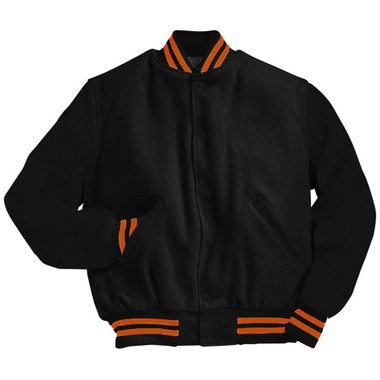 Solid Black Varsity Letterman Jacket with Orange Stripes