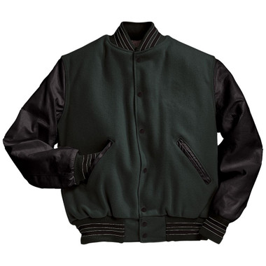 Dark Green and Black Varsity Letterman Jacket