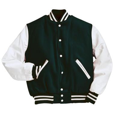 Dark Green and White Varsity Letterman Jacket