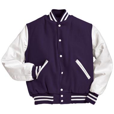 Dark Purple and White Varsity Letterman Jacket