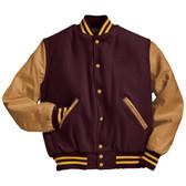 Maroon and Light Gold Varsity Letterman Jacket