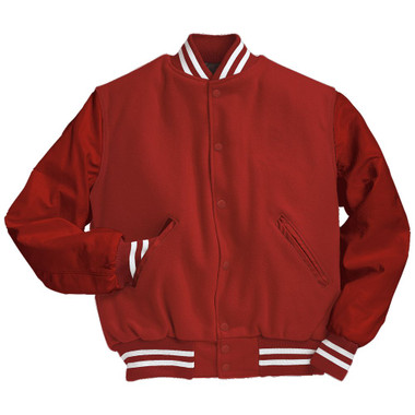 Solid Scarlet Red Varsity Letterman Jacket with White Stripes