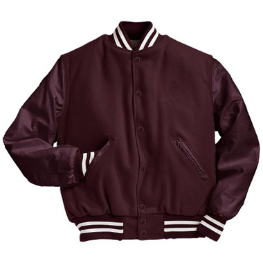 Solid Maroon Varsity Letterman Jacket with White Stripes