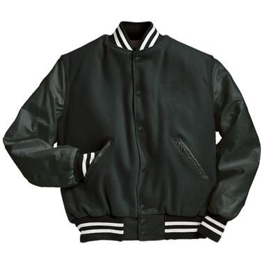 Solid Dark Green Varsity Letterman Jacket with White Stripes
