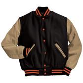 Black and Cream Varsity Letterman Jacket with Orange Stripes
