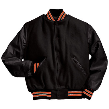 Solid Black Varsity Letterman Jacket with Orange and White Stripes