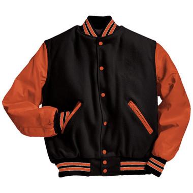 Black and Orange Varsity Letterman Jacket with Orange and White Stripes