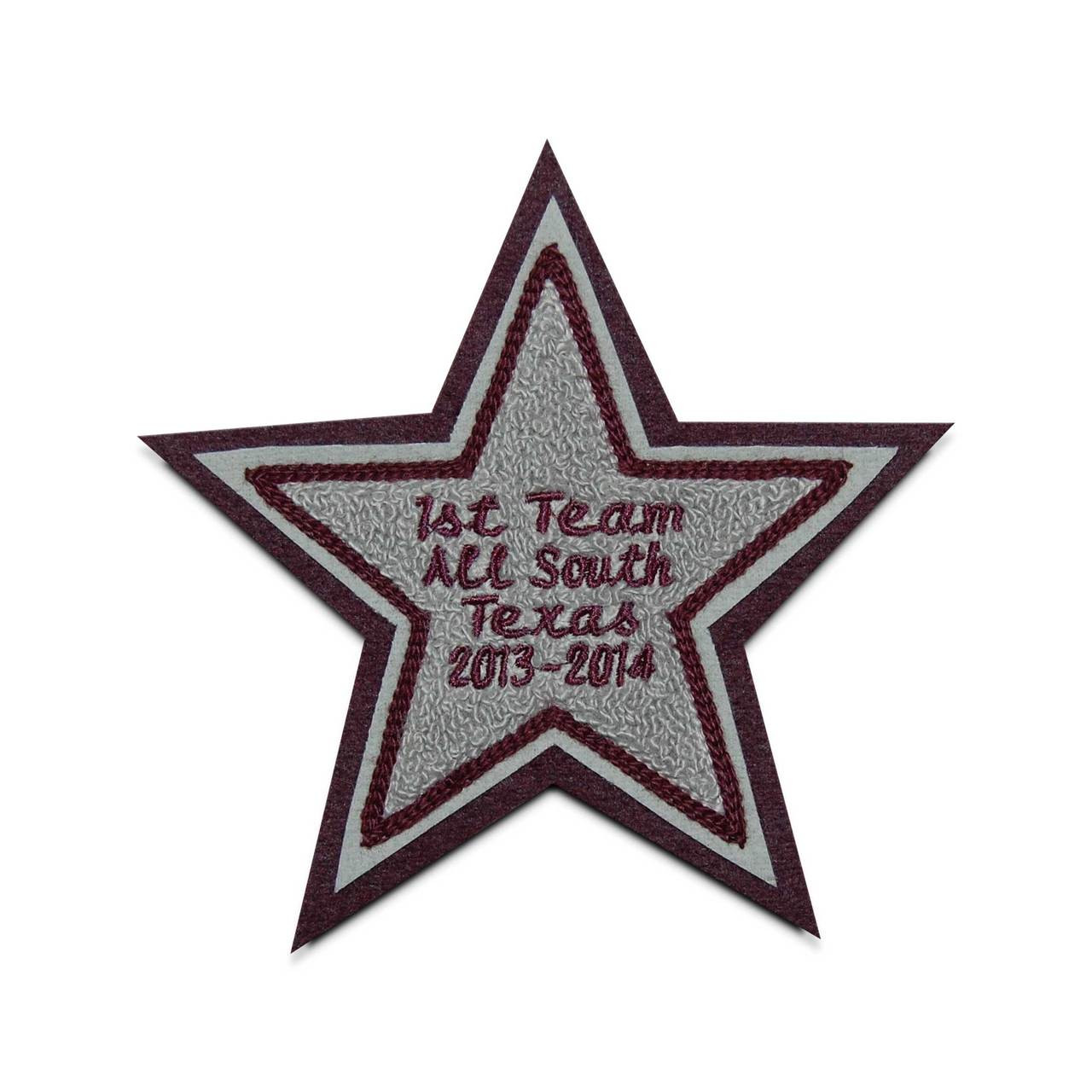 Custom made chenille name patches with stars.