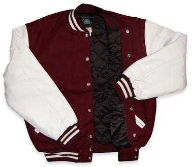 Maroon and White Varsity Letterman Jacket