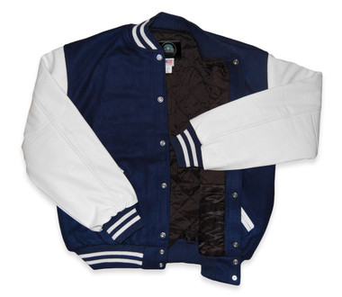 Light Navy and White Letterman Jacket