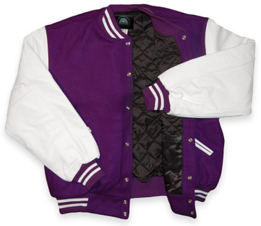 Purple and White Varsity Letterman Jacket
