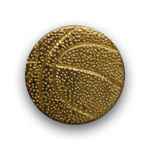 A basketball sports pin is often attached to a varsity letter to indicate the player earned the letter through his or her participation or achievement on the basketball team.