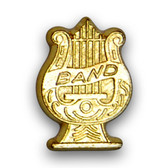Band lyre varsity letter pins are worn by members of the band, orchestra, marching band, jazz band, or other musical ensemble.