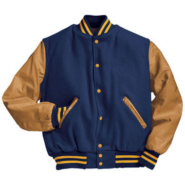 Royal Blue and Light Gold Varsity Letterman Jacket