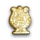 Chorus lyre varsity letter pins are worn to represent for being in Chorus and other musical ensemble.