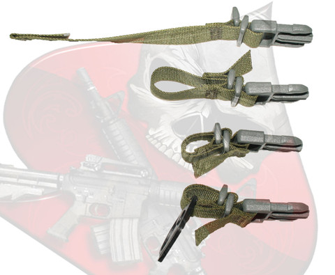 This is the double locking speed loop male webbing adapter.  The top item is the webbing adapter open and unassembled.  The second item is assembled in the first stage.  The third item is assembled in the double locked stage.  The third item is in the double locked stage installed onto an M4/AR15 sling receiver plate.