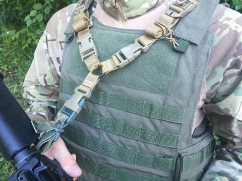 This photo shows the DBA-SIM Sling correctly installed and adjusted, and connected to an M4 via the optional Speed Loop Male Webbing Rear Modular Adapter.