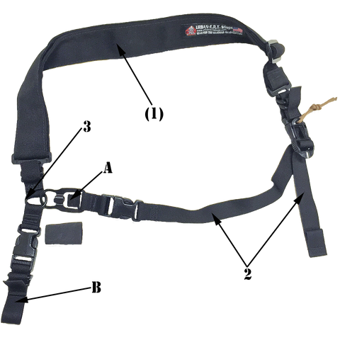 This photo shows the Basic RUSH Sling transformed into a one point sling for single point use.