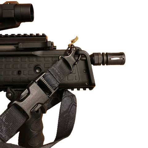 This photo shows the Snap Shackle installed onto the front of a Keltec RDB carbine.