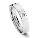 Tungsten Ring for Women, Classy Ring, Chrome, High Polish Finish with CZ Stone, 6MM
