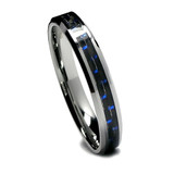 Tungsten Ring for Women, Fashion Ring with Black and Blue Carbon Fiber, High Polish, 6MM