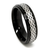 Tungsten Ring for Women, Black Tungsten Ring, Laser Etched Celtic Design - 6MM