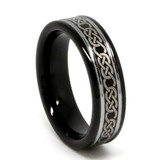 Tungsten Ring for Women, Black Tungsten Ring with Laser Etched Infinity Designs - 6MM