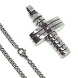 Stainless Steel Mens Cross Necklace 24 Inch 6.5mm Curb Chain Stylish Pendant with Cubic Zirconia